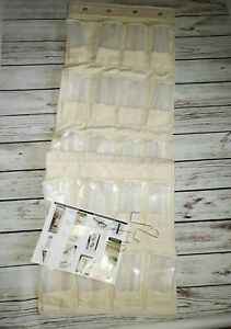 HHEOver-the-Door Shoe Organizer  Thick raw natural Canvas- 24 Pocket - Beige