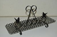 Vintage Black Punched Metal Mid Century Modern 1960s Pierced Mesh Candle Holder
