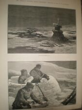 American Franklin Search Expedition Erebus and igloo building 1881 prints ref AT