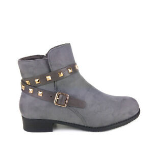New Womens Suede Low Block Heel Buckle Chelsea Smart Casual Ankle Boots Shoes