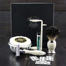 Men's Shaving Set DE Safety & Pure Black Badger Brush Grooming Kit for HIM