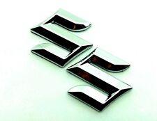 Suzuki Chrome Letter Badge Logo with Sticker Left Right Side 30mm x30mm 2pcs SET