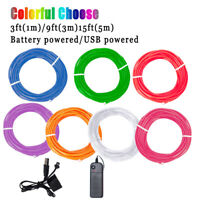 Glow LED Light El Wire String Strip Rope Car Dance Party+ USB Battery Controller