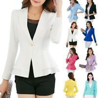 Fashion Women Coat Slim Blazer Long Sleeve Jacket Short Formal OL Suit Outwear