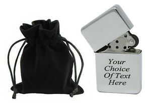 Engraved Personalised Gift Chrome Lighter Star Ideal Wedding Present + Pouch