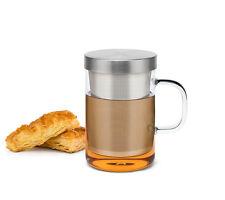 Borosilicate Glass Tea Cup Mug w/t Infuser & Coaster Lid, Heat Resistant  500ml