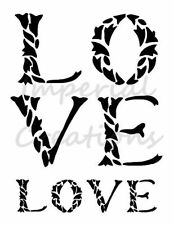 """LOVE"" Animal Print Leaves Word 8.5"" x 11"" Stencil Plastic Sheet NEW S25"