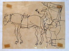 Unidentified artist man with a cart and a horse Jewish Hebrew Sign Ink Drawing