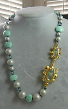 Alexis Bittar Elements Crystal Pearls Green Stones Strand  Necklace  NWT