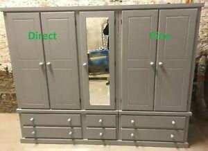 SHAFTESBURY HANDMADE 5 DOOR 6 DRAWER WARDROBE WITH CENTRE MIRROR IN GREY