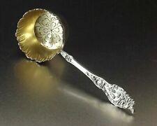 Antique French Sterling Silver Gold Vermeil Tea Strainer Floral Art Nouveau 1890