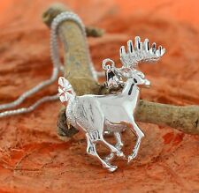 Necklace with Deer Pendant-Sterling Silver-Cute,Gift Idea,Animal Lover,Deer,Mom