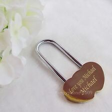 Personalized Engraved Double Heart Love Lock Mini Brass Padlock Valentines Gift