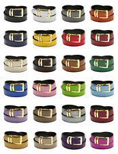 Men's Belt Reversible Wide Bonded Leather Gold-Tone Buckle Over 20 Colors