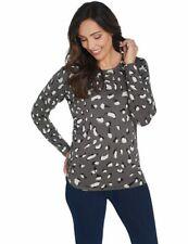 Quacker Factory Grey Animal Long-Sleeve Crew Neck Sparkle Sweater New