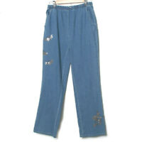 Quacker Factory Sequined Fall Halloween Witch Bat Embellished Blue Jeans Medium