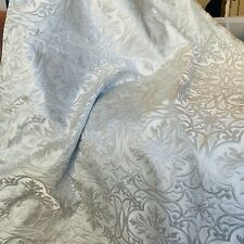 White and Lightest Blue Snowflake Jacquard Brocade Silk and Metallic Fabric