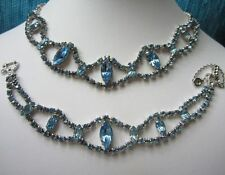 Vintage Light Sapphire Rhinestone Necklace and Bracelet Demi Parure