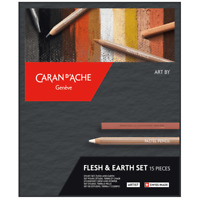 Caran d'Ache 15 Piece Flesh & Earth Pastel Pencil Set Artist Sketching Drawing