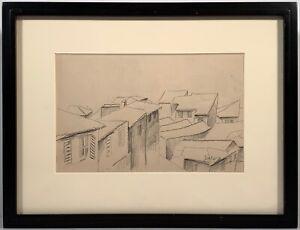 "Listed Artist Léopold Survage (1879-1968) Signed Drawing ""Les Toits Du Village"""
