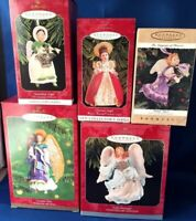 Lot of 5 Hallmark Keepsake Collector's Ornaments, ANGELS 1996-2000 NEW in Box