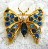 Nice Vintage LIA Gold Tone Faux Pearl Blue Rhinestone Butterfly Brooch/Pin EE33*