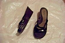 womens skechers black multi strap wedge heels shoes size 8