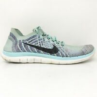 Nike Womens Free 4.0 Flyknit 717076-404 Blue Running Shoes Lace Up Size 10.5