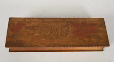 ANTIQUE VINTAGE PYROGRAPHY GLOVE OR TIE BOX  POINSETTIAS AND GIRL