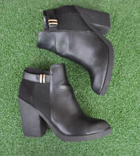 Ladies Miss Selfridge Black Faux Leather Ankle Boots Heeled Casual Suede Size 8