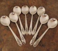 IS Triumph 8 Round Soup Spoons Wm Rogers Vintage Silverplate Flatware Lot D