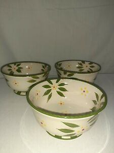 Temptations 24 oz Soup Cereal Bowl Footed  Old World Green Set Of 3
