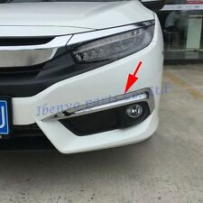 Front Fog Light Stripes Trim Glossy Chrome Cover Moulding For 10th Honda Civic
