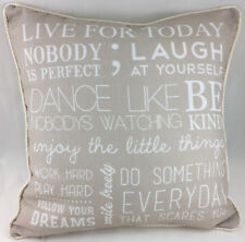 Beige with Positive Thoughts Theme & Piped Edge Evans Lichfield Cushion Cover