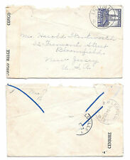 Belgian Congo Censored Wwii Cover 1943 Irumu to Bloomfield Nj Us Sc# 181