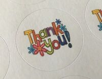 #514 THANK YOU with Flowers ENVELOPE SEALS LABELS STICKER Celebrations Business