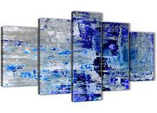 XL Indigo Blue Grey Abstract Painting Art Canvas - 5 Set - 160cm Wide - 5358