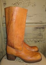 VINTAGE 70'S OILED LEATHER GOLDEN BROWN CAMPUS RIDING BOOTS LADIES 8 M HIPPIE