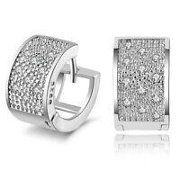 New Arrival Fashion Lady Women's Crystal Silver Ear Stud Hoop Earrings Jewelry