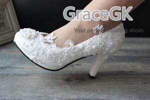 Lace bridal crystal wedding shoes rhinestone low heel flat bridesmaid prom shoes