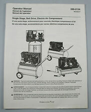 Coleman Single Stage Belt Drive Electric Air Compressor Operator Manual 200-2134