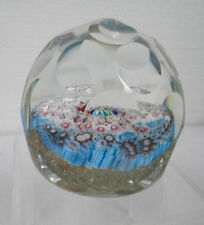 MURANO ART GLASS VINTAGE ROUND DIMPLED PAPERWEIGHT WITH MILLEFIORI DESIGN