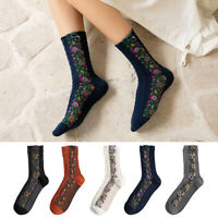 New Fashion Women Socks Cotton Casual Warm Ladies Socks Flowers Hosiery Autumn