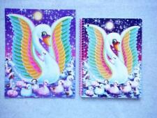 LISA FRANK Lot/2 Glitter Wide Rule Spiral Notebook Folder BLANCA SWAN Family