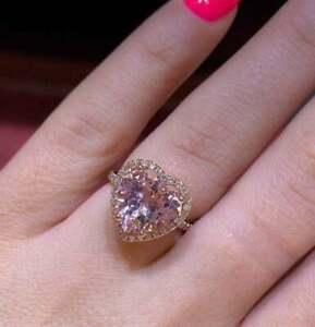 3Ct Heart Cut Morganite & Diamond Halo Engagement Ring 14K Rose Gold Finish