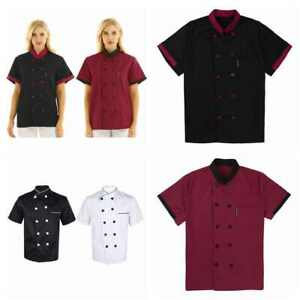 Men Short Sleeve Chef Coat Jacket Kitchen Cooker Outfit Restaurant Uniform Dress