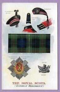 [0315] Militaria Postcard The Royal Scots (Lothian Regiment) Insignia Dress Etc