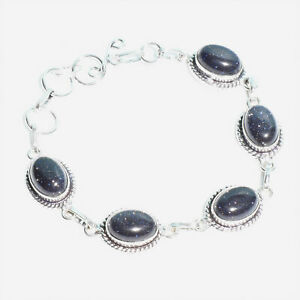 "Blue Galaxy Star Gemstone Handmade 925 Sterling Silver Jewelry Bracelet 7-8"""