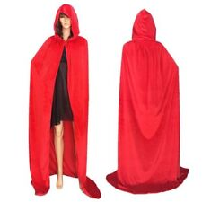 Adult Hooded Robe Cloak Cape Witch Costume Party Halloween Cosplay Festival Prop Red S 110cm