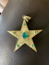 18k Solid Gold And Emerald Huge Star Pendant Not Scrap Stunning Piece Heavy!